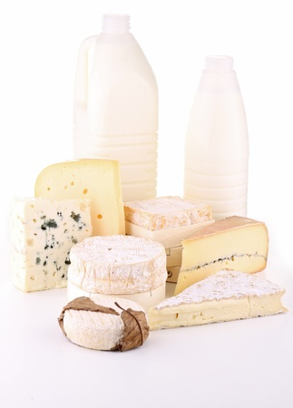 isolated products dairy on white photo
