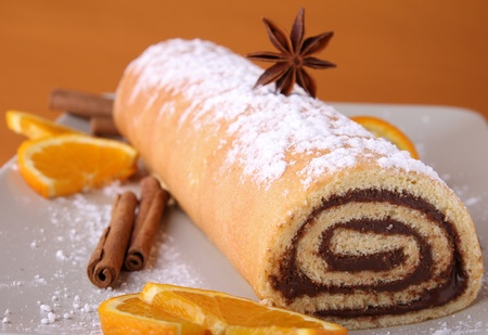 spice cake: chocolate swiss roll Stock Photo