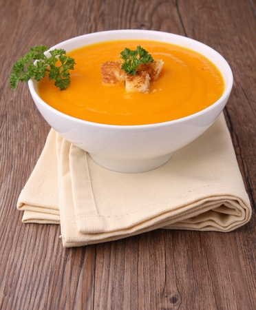 pumpkin soup: bowl of vegetables soup