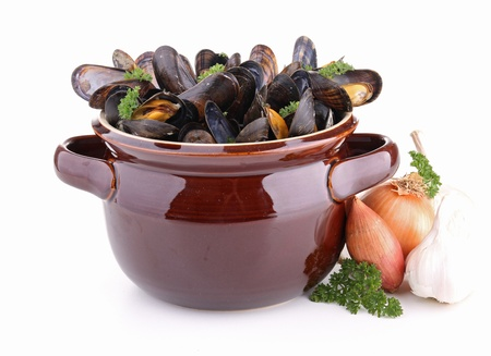 isolated cooking pot with mussel photo