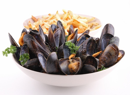 mussels: isolated plate of mussels