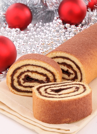 swiss roll: chocolate swiss roll Stock Photo