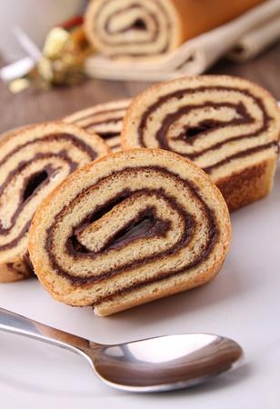 swiss roll: chocolate swiss roll Stock Photo