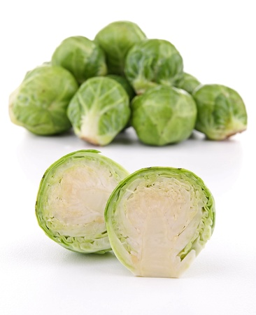 brussels sprouts: isolated raw brussels sprouts on white