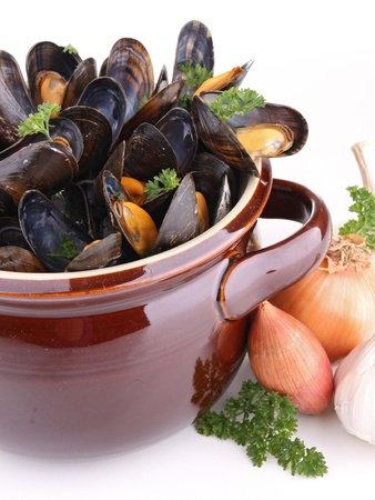 cooking pot with mussels photo