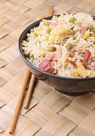 fried rice and chopsticks photo