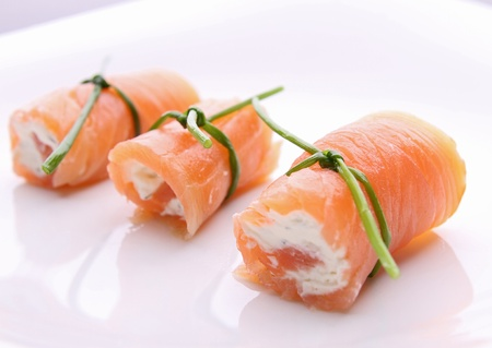 roll salmon with cream cheese photo