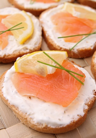 bread toast: canapes with salmon and cheese