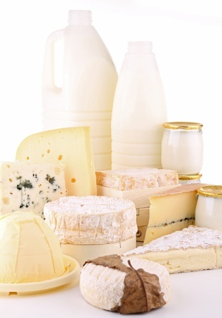 dairy products on white background photo