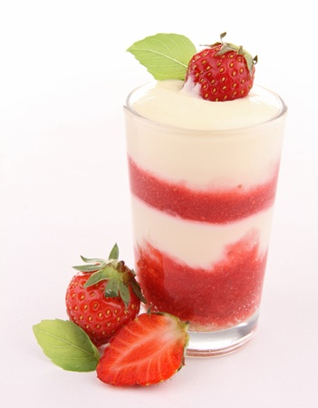 isolated strawberry tiramisu photo