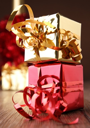 red and golden presents photo