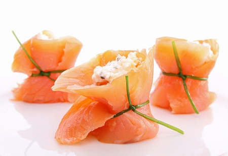 finger food: salmon roll with cheese Stock Photo