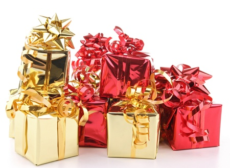 isolated pile of present on white Stock Photo - 10953194