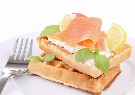 smoked salmon: waffle and smoked salmon Stock Photo