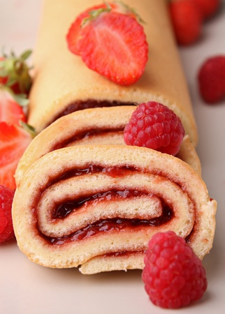 fruit swiss roll photo