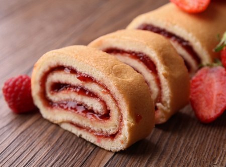 swiss roll: slice of fruit swiss roll Stock Photo