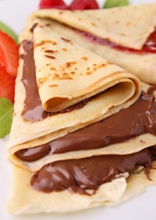crepas: torta de chocolate Foto de archivo