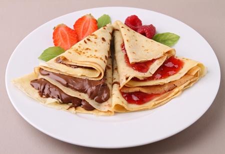 chocolate and jam pancake