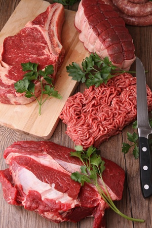 mincing: assortment of raw meat Stock Photo