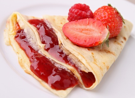 crepe: gourmet pancake with strawberry Stock Photo