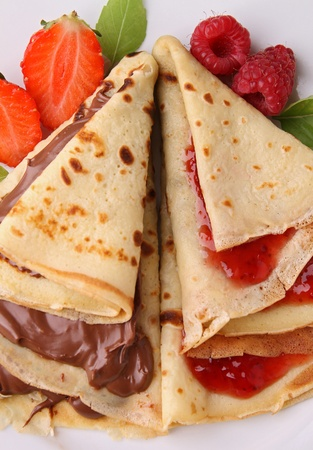 pancake with chocolate and jam photo