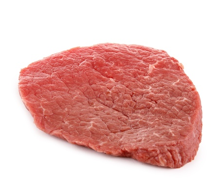 beefsteak: isolated raw beefsteak Stock Photo