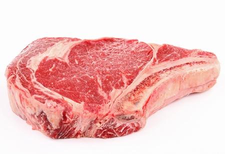 raw steak: isolated raw rib beef