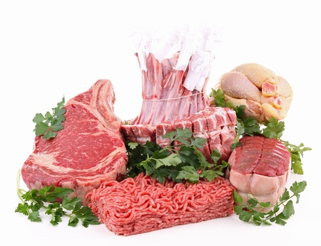 rack of lamb: isolated raw meat