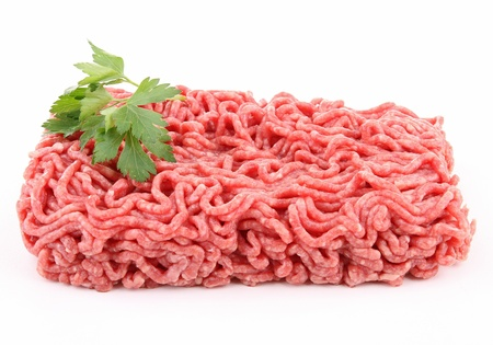 isolated raw minced beef