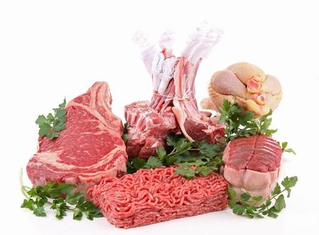 carne cruda: assortimento isolato di carne cruda