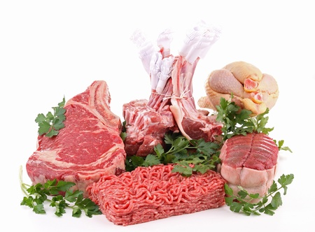 mincing: isolated assortment of raw meat Stock Photo