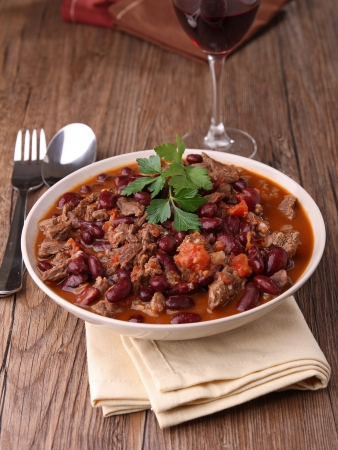 beef stew: plate of chili con carne