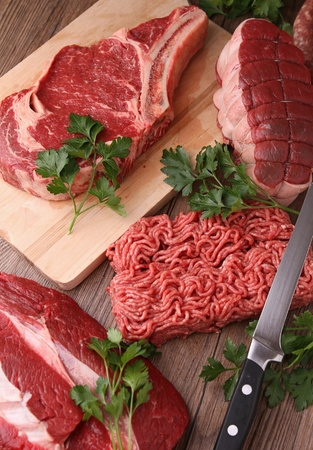 raw beef: assortment of raw meat Stock Photo
