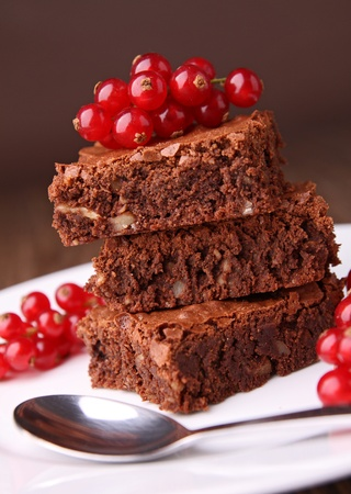 brownies: brownies and red currant Stock Photo