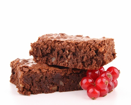 isolated brownies and red currant photo