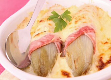 endive: endive,ham and cheese Stock Photo
