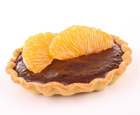 orange tart: isolated chocolate and orange tart