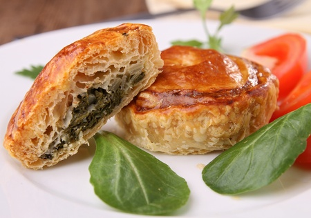 puff: appetizer, spinach baked puff and vegetables