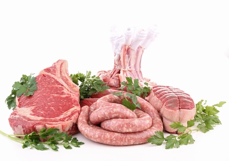 butchery: isolated raw meat on white Stock Photo