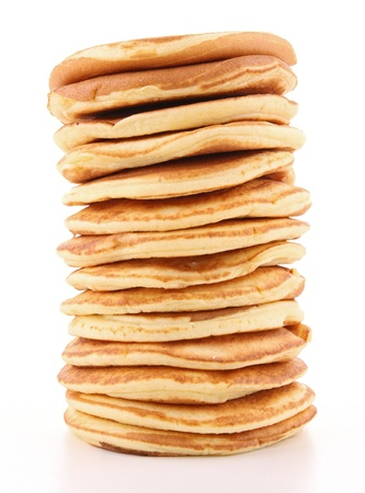 isolated pancakes stack on white photo