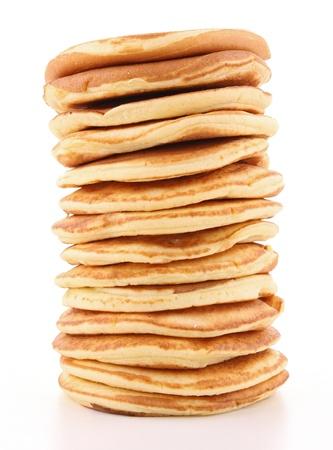 hot cakes: panqueques aislados en blanco pila Foto de archivo