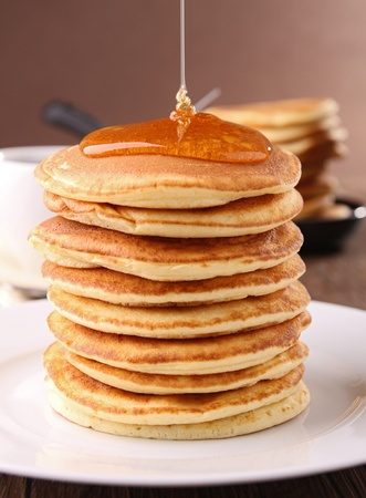 pancakes pile and syrup photo