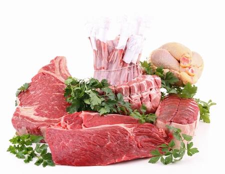 carnes: aislados carnes crudas y el perejil Foto de archivo