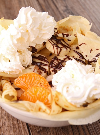 fruit,chocolate and whipped cream photo