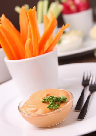 carrot and sauce, fresh appetizer photo