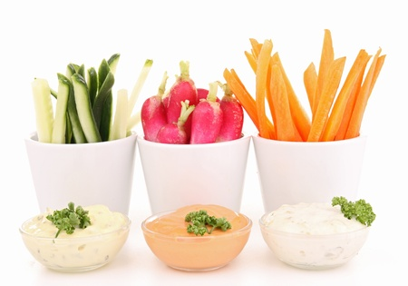 isolated vegetables and dip