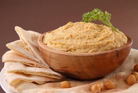 hummus: hummus with pita bread Stock Photo