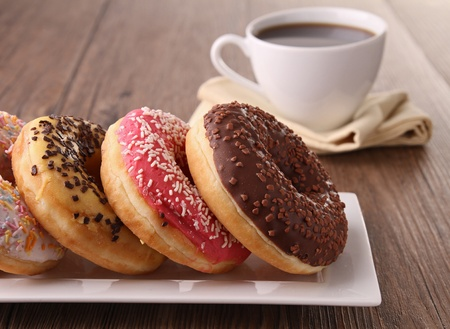 donuts: donuts and coffee Stock Photo
