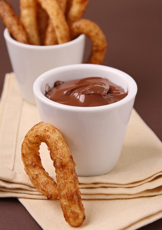 churros: churros and chocolate Stock Photo