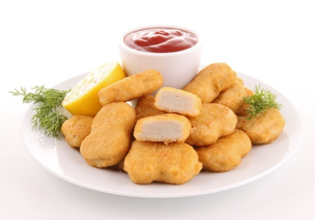 isolated plate of nuggets with ketchup Stock Photo
